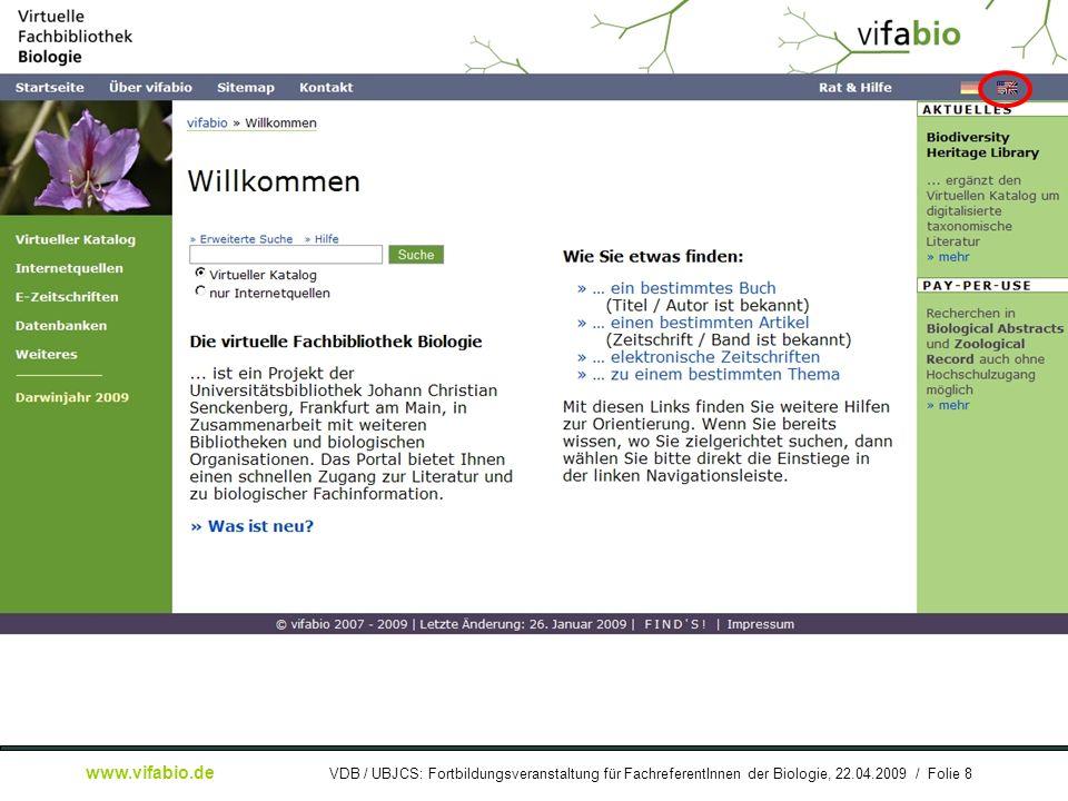 [ Bildschirmfoto: ] vifabio-Startseite (dtsch.)